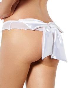 White Mesh Big Bow Ruffled Thong