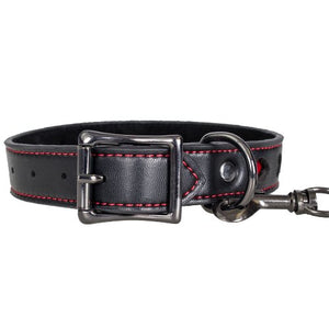 KOUDOU Faux Leather Heart Collar with Black Leash