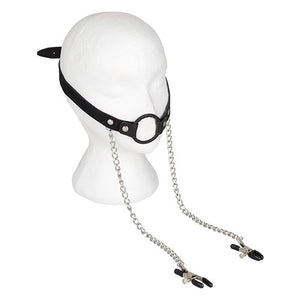 KOUDOU Leather O-Ring Mouth Gag with Nipple Clamps