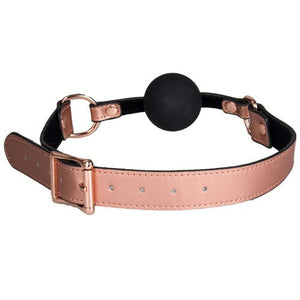 KOUDOU Beautifully Bound Rose Gold Real Leather Silicone Ball Gag