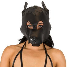KOUDOU Black Faux Leather Dog Bondage Hood