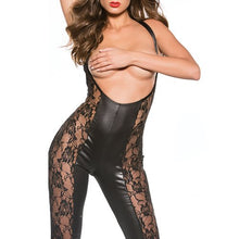 KOUDOU Kitten Lace and Wet Look Reversible Cupless Catsuit