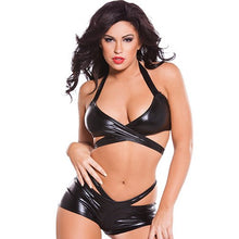 KOUDOU Kitten Wet Look Strappy Bra Set