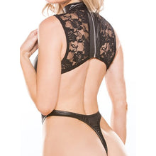 KOUDOU Kitten High-Cut Thong Lace and Wet Look Teddy