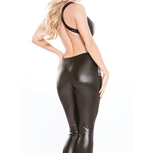 KOUDOU Kitten Lace and Wet Look Backless Catsuit