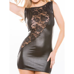 KOUDOU Kitten Lace and Wet Look Bodycon Dress