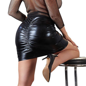 KOUDOU Plus Size Wet Look Ruched Skirt