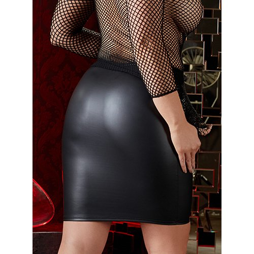KOUDOU Plus Size Faux Leather Above Knee Skirt