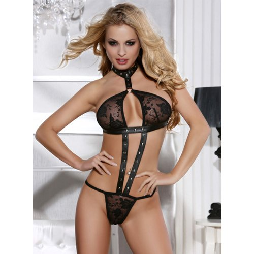 KOUDOU Leather Look and Lace Teddy