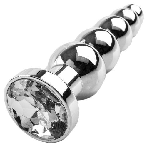 KOUDOU Bejewelled Silver Metal Rippling Jewelled Butt Plug - 5.5 Inch