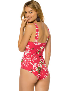Plus Size Flower Style Women One Piece Swimwear