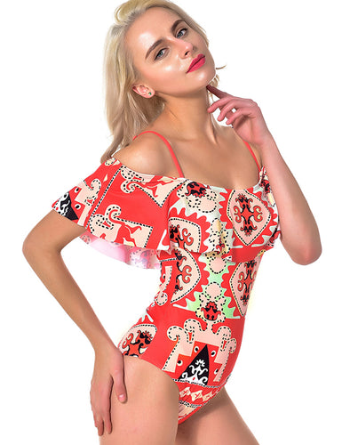 Floral Print Red Sexy Ruffled Summer One Piece Swimsuit
