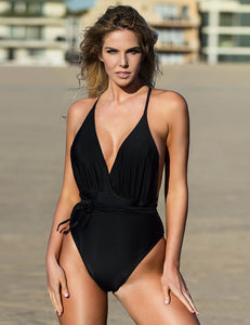 Deep V Tie Up Bathing Suit Monokini Multiple Wearing Way One Piece Swimsuit