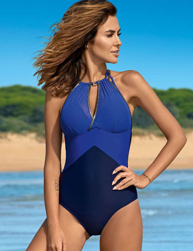 Blue Sexy Push Up Mature Splice Women One Piece Swimsuit