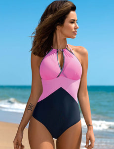 Pink Sexy Push Up Mature Splice Women One Piece Swimsuit