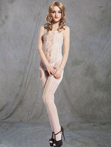 Crochet Fishnet White Bodystockings