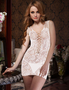 White Fishnet Mesh Bodystocking