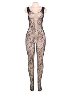 Fishnet Crotchless Bodystocking with Lacing