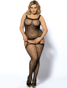 Plus Size Leopard Patterned Bodystocking with Garter