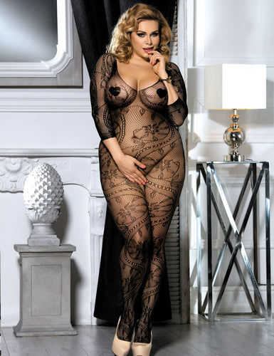 Plus Size Deep V Neck bodystockings with Open Back