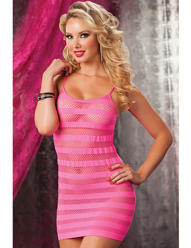 Hollow-out Stripey Red Crotchet Mini Chemise Dress