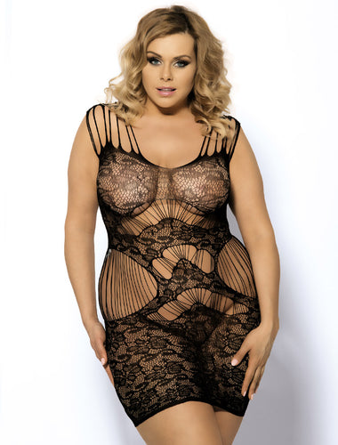 Plus Size Magic Lace Strap Chemise Bodystocking