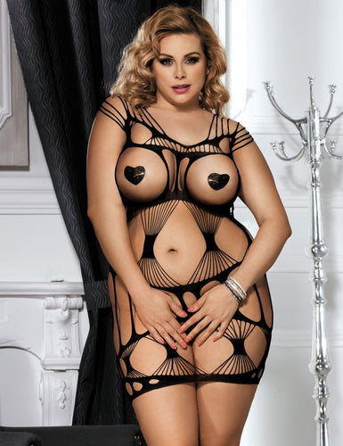 Plus Size Sexy Black Mesh Pothole and Fishnet Bodystocking