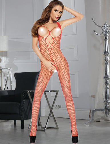 Open Up Red Sexy Fish Net Lace Bodystocking