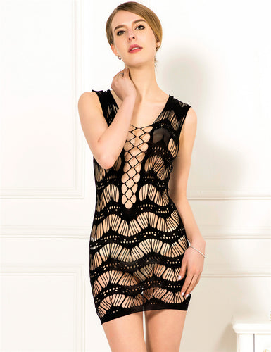 Black Crocheted Lace Hollow Out Chemise Bodystocking