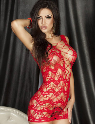 Red Crocheted Lace Hollow Out Chemise Bodystocking