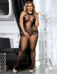 Plus Size Lace and Fishnet Turtleneck Bodystocking