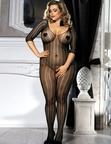 Plus Size Striped Sheer Open Crotch BodyStockings