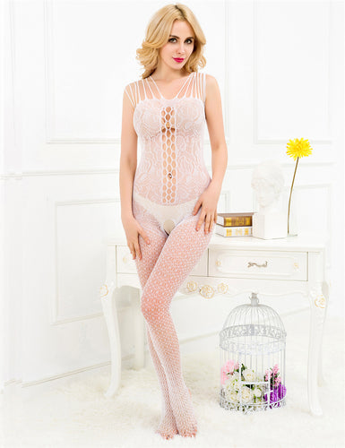 Strappy Shoulders Floral Mesh White Bodystocking