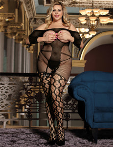 Plus Size Black Sexy Fishnet Open Up Off Shoulder Bodystocking