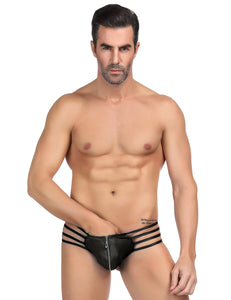Mens Synthetic Leather Sexy Zipper Panties