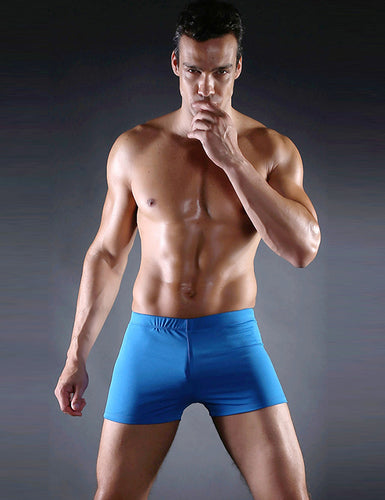 Men's Blue Swimming Trunks Jammers Endurance Quick Dry Swimming Trunks