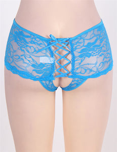 Hot Blue Lace Open Crotch Panty
