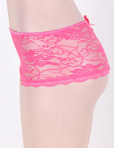 Sexy Pink Lace Open Crotch Panty