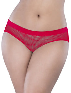 Red Netted Open Back Hipster Panty