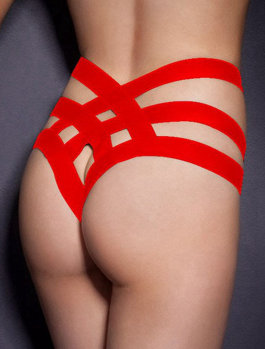 Red Cage Bandage Brief Thong Plus Size Panty