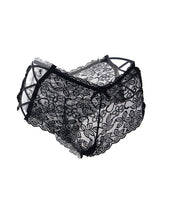 Sexy Black High Waist Floral Lace Strappy Panty