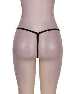 Plus Size Black Zip Front Sexy Thong Knickers