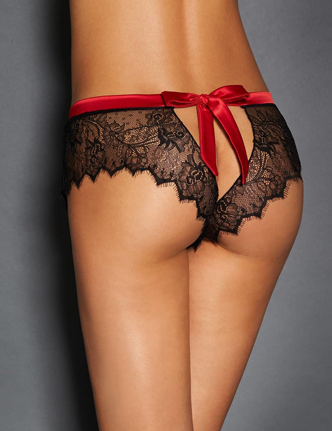 Sexy Black Lace Red Silk Strappy Panty