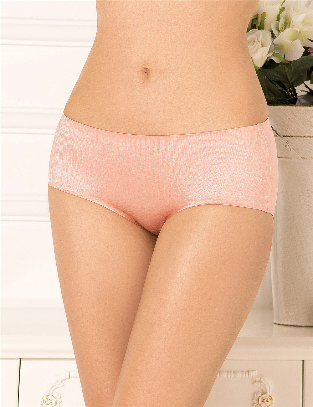 Sexy Plus Size Apricot Flash Silky Soft Panty
