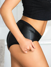 Leather Lift Hip Black Panty