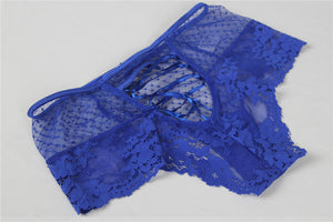 Sexy Blue High Waist Lace Strappy Panty
