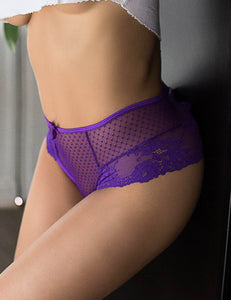 Sexy Purple High Waist Lace Strappy Panty