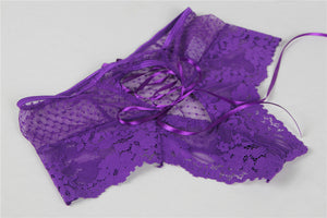 Plus Size Sexy Purple High Waist Lace Strappy Panty