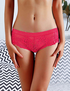 Plus Size High Quality Wine Red Sexy Floral Lace Panty