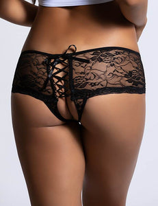 Black Open Crotch Floral Lace Panty